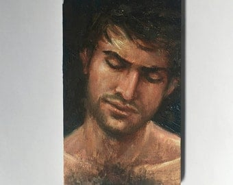 """Franco - a small original oil painting 3""""x5"""" sold framed and ready to hang"""