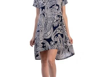 Navy Paisley Hi-Low Dress