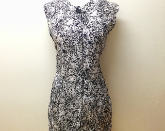 Vintage Black and White Sleeveless Dress/ Summer Dress