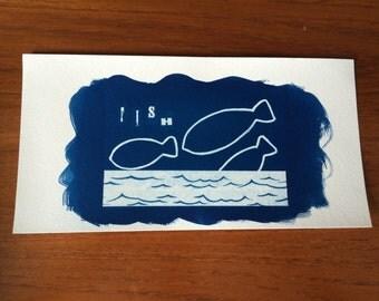 Fishy cyanotype print