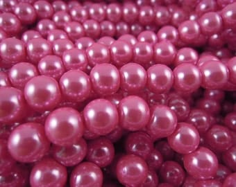 CP-Hot Pink Glass pearls by Lady Pruchez tm #12