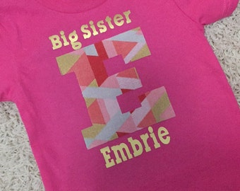 Personalized Big or Little Sister T-shirt with Fabric Letter