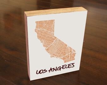 Los Angeles California State City Map Art Wedding Anniversary House Warming Gift Wood Block Art