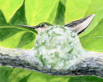 Hummingbird Print. Hummingbird Art. Bird Nursery Decor. Mom to Be. Mama bird. Bird Nursery Art. Bird Home Decor. Baby Shower Gift. New Mom.