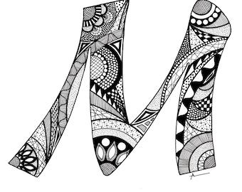 Letter M Monogram Print - Zentangle Inspired