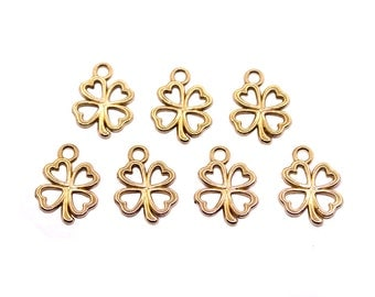 10 pcs Gold Tone Clover Charms | Gold Clover Charms, Clover Pendant, Gold Clover Pendant, Small Clover Charns, Good Luck Charms