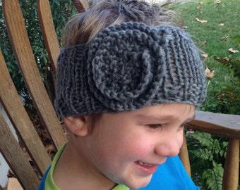 Hand Knit Flower Headband