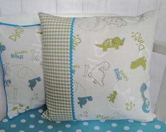 Personalised Dinosaur Cushion, Children's Dinosaur Throw Pillow, Children's Personalised Cushion, Dinosaur Nursery Decor