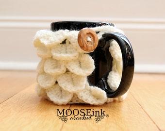 Mermaid Crochet Coffee Mug Cozy with Button
