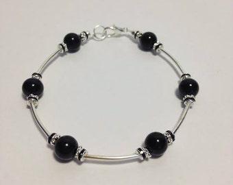 Black Bead and Silver Beaded Bracelet