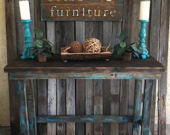 Rustic Teal Farmhouse Credenza/Console
