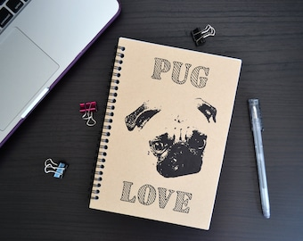 Pug Love - A5 Spiral Notebook with Kraft Card Cover and Lined or Blank Pages