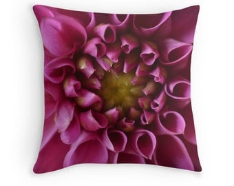 Pink Flower Pillow, Pink Decorative Throw PILLOW, Flower Cushion home decor, Fushia Pink flower Pillow Cover, Photo Floral Throw Pillow Case