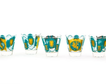 Set of 8, Ned Harris, Turquoise Rocks / Old Fashioned / Low Ball Glasses