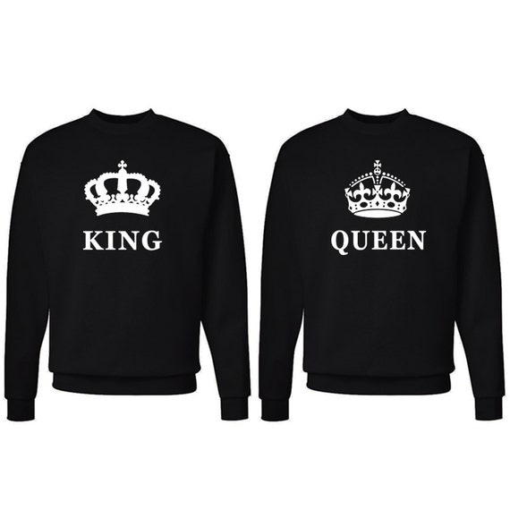 king queen sweatshirts couple matching sweaters. Black Bedroom Furniture Sets. Home Design Ideas