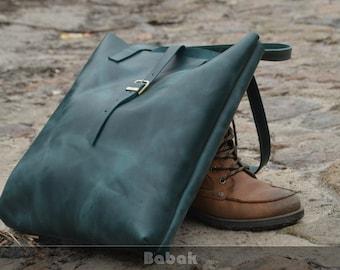 Large leather tote bag Leather tote bag Leather bag Tote bag Green leather tote Green leather bag Leather handbag Leather Shoulder bag