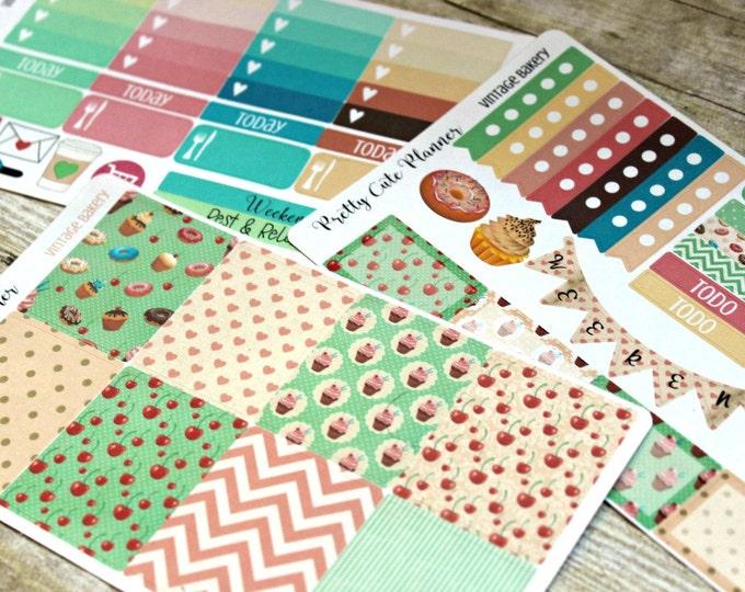 Retro Bakery Planner Stickers -Weekly Planner Sticker Set Erin Condren Life Planner-Happy Planner -Day Designer-Functional stickers-Full Set