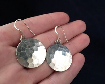 Sterling Silver Hammered Round Earrings