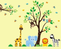 """Baby Room Wall Stickers, Boys and Girls Wall Decals, Animal Themed Wall Stickers, Nursery Wall Art, Nursery Wall Decals - 83"""" x 156"""""""