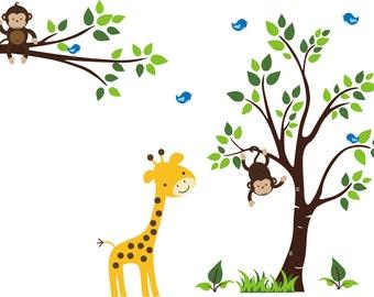 "Giraffe Wall Print - Nursery Design - Nursery Room Decor - Nursery Wall Decals - Wall Decor Nursery - Baby Gift - Baby Shop - 83"" x 90"""