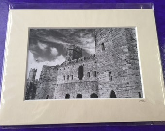 Beautiful Black and White Caernarfon Castle Photo in a Mounted Frame