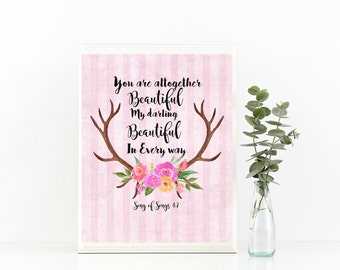 You Are Altogether Beautiful Song Of Solomon 4:7 Print Deer Antlers With Flowers Digital Download Scripture Printable