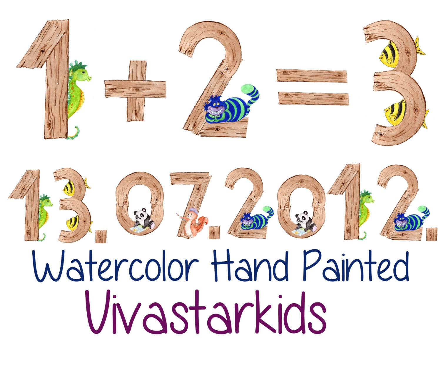 watercolor kids numbers clipart