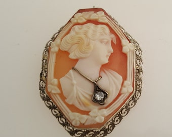 14K White Cameo Brooch, Pendant,  44 x 35 mm, 1930's, #12003