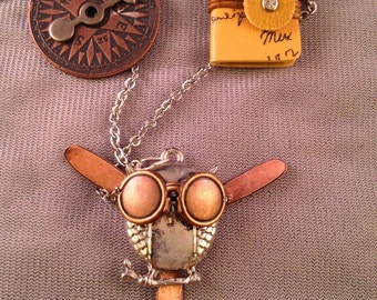 Steampunk Owl Aviator Charm Necklace Pendant
