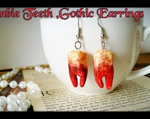 Creepy Cute Fake Zombie teeth,Horror Zombie Costume,Zombie jewellery,Weird jewelry,Creepy Jewelry,The walking Dead jewelry, Hand Sculpted