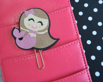 Mermaid Planner clip with bow //Brunette Hair &  Pink Glitter fin with bow