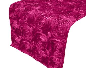 Zen Creative Designs® Stylish Rosette Table Top Runner / Floral Ribbon Runner / Event / Wedding / Decor (Fuchsia)
