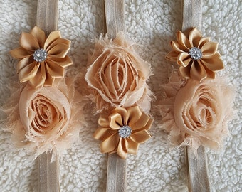 Champagne Colored Flower Headband for Flower Girls Infants & Toddlers | Tan Flowergirl Headbands with Flowers and Gems