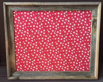 Decorative Bulletin Board, Fabric Cork Board, Organizer, Framed Pinboard, Fabric Bulletin Board, Framed Corkboard, Fabric Pin board, Country