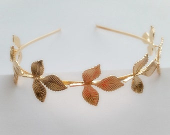 Greek beauty fresh nature golden leaves decorated ancient head band hair band one piece