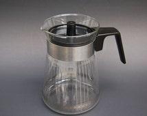 60s Clear Glass Coffee Pot Pyrex Art Deco 4 cup Carafe Retro Tea Pot Gold Pattern