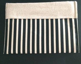 Black and Khaki Striped Cosmetic Bag