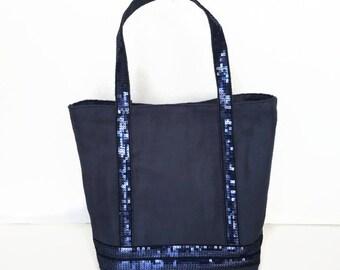 Sequin tote bag Navy Blue