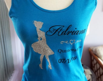 Personalized Quinceañera Junior Fit Tank Top with Glitter Print