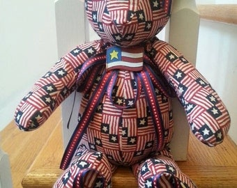 """Independence Day, 4th of July, Memorial Day, Veteran's Day Teddy Bear, 9"""" sitting"""