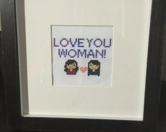 Cross stitch heads with short phrase