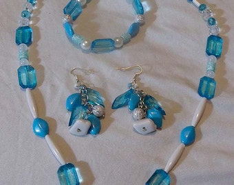 Necklace, Bracelet, Earrings, Light, Sky, baby Blue and White Jewelry Set