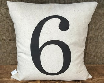 Custom Number Pillow Cover, throw pillow, cushion cover, farmhouse pillow,modern farmhouse, white pillow, natural pillow, rustic decor