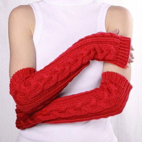Red Fingerless Gloves Long arm warmers Womens Arm Warmers with braids, Winter Arm Warmers, Red Gloves, Fingerless Gloves, Red mittens