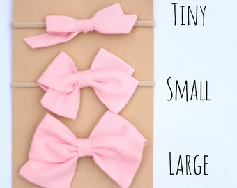 Baby pink fabric bow