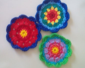Bright and Cheerful Handcrafted Crochet Courage flowers - because we all need a bit of extra courage some times