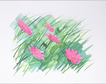 Original Watercolor Painting, Not Print, 12.6 inches x 9.4 inches, Daisies in Pink, 24072013005mBLGBRS