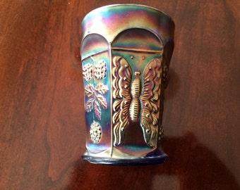 Cobalt Blue carnival glass tumbler