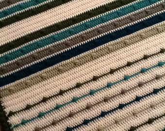 Crochet Blanket - Greens, teals and white