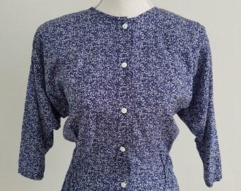 1980's Vintage Topshop blue & white leafy batwing blouse
